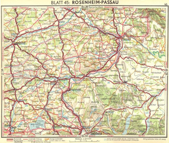 Associate Product GERMANY. Rosenheim-Passau 1936 old vintage map plan chart