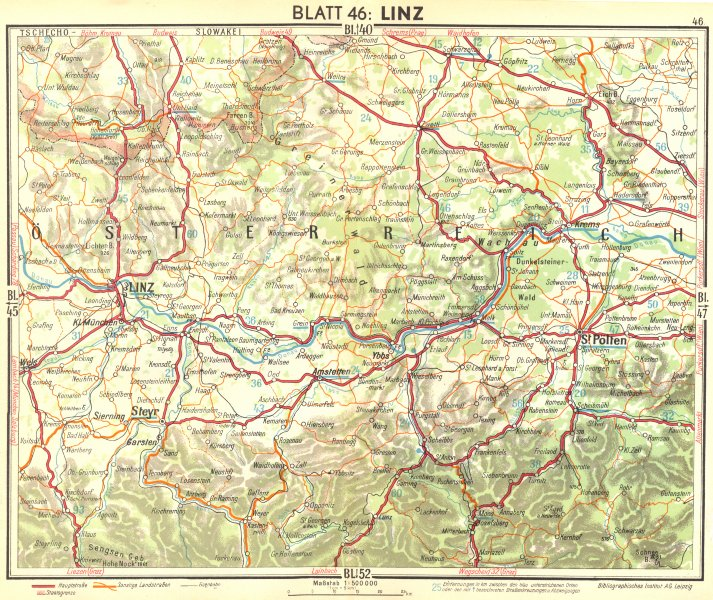 Associate Product AUSTRIA. Linz 1936 old vintage map plan chart