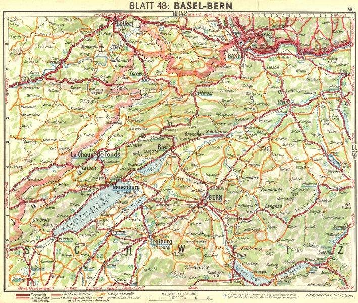 Associate Product SWITZERLAND. Basel-Berne 1936 old vintage map plan chart
