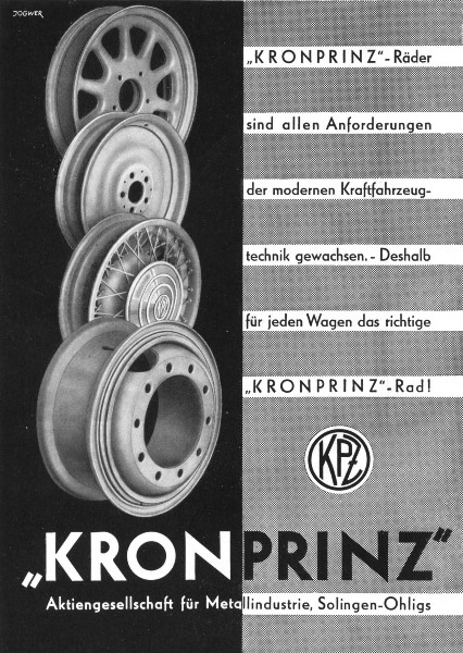 GERMANY. Kron Prinz 1936 old vintage print picture