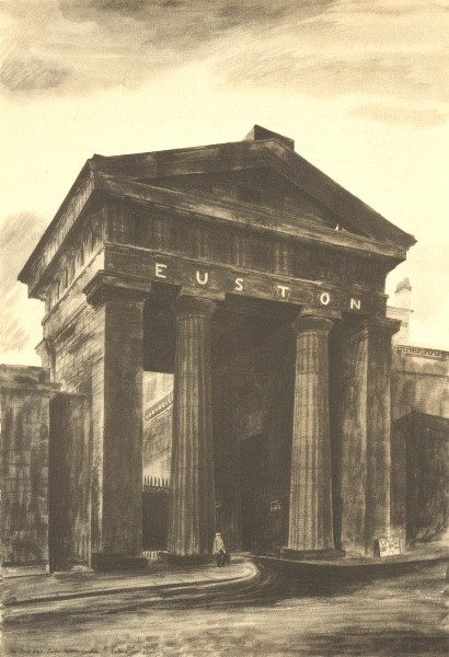 Associate Product LONDON. Doric Arch, Euston Station, NW1. By Barbara Jones 1946 old print