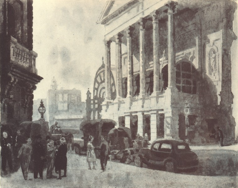 Associate Product LONDON. Covent Garden Theatre - The Colonnade. By Walter Bayes 1946 old print
