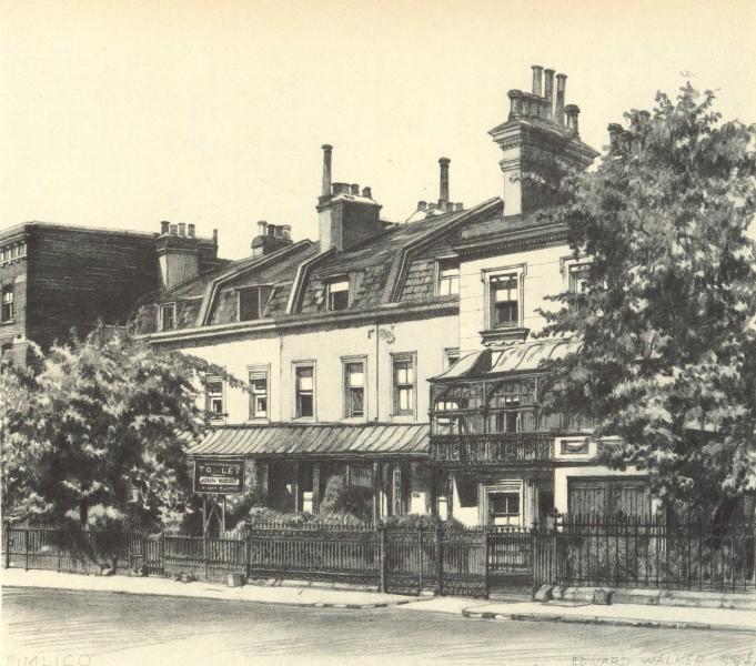 Associate Product LONDON. 105-108 Grosvenor Road, SW1. By Edward Walker 1946 old vintage print