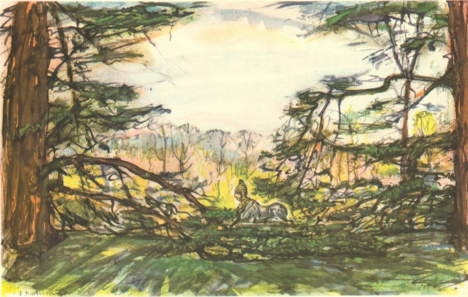 Associate Product LONDON. Chiswick House - the Cedars and the Sphinx. By AS Hartrick 1946 print