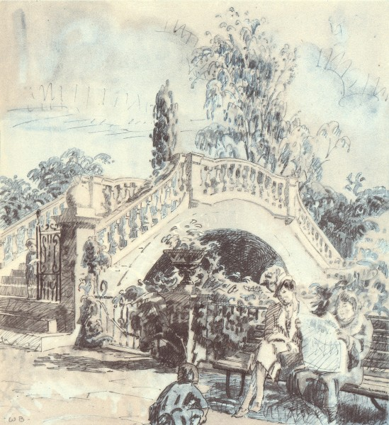 TWICKENHAM. The Garden, York House. London. By Walter Bayes 1946 old print