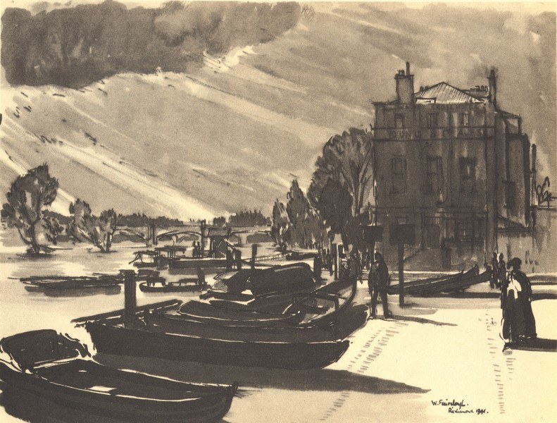 Associate Product RICHMOND. River Front. London. By W Fairclough 1946 old vintage print picture