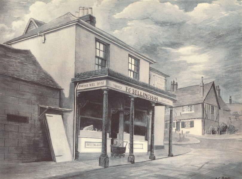 Associate Product REIGATE. Butcher's Shop. Surrey. By AC Bown 1946 old vintage print picture
