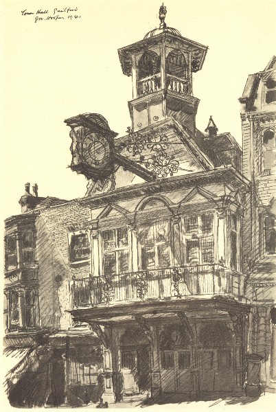 Associate Product GUILDFORD. The Town Hall. Surrey. By GW Hooper 1946 old vintage print picture