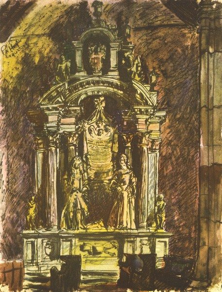 BLETCHINGLEY CHURCH. The Clayton Tomb. Surrey. By GW Hooper 1946 old print
