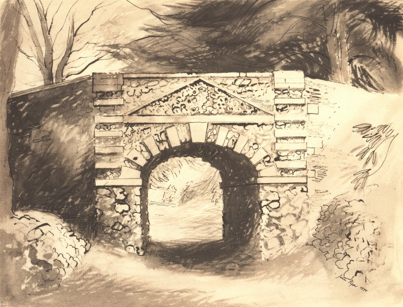 BUCKLAND HOUSE. The Tunnel. Oxfordshire. By John Piper 1946 old vintage print