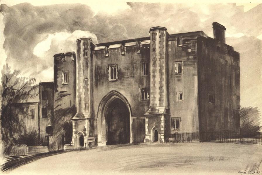 Associate Product ST. ALBANS. Abbey Gatehouse. Hertfordshire. By Malvina Cheek 1946 old print