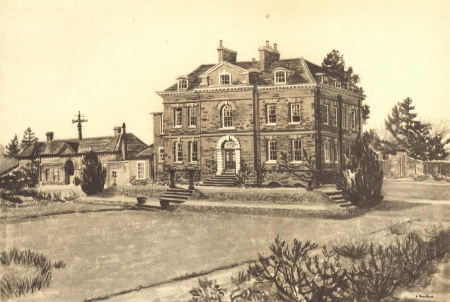 Associate Product HERTFORDSHIRE. Much Hadham Hall. By Irene Hawkins 1946 old vintage print