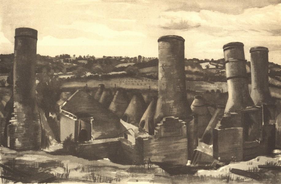 Associate Product SUNDON. Lime Kilns. Bedfordshire. By Malvina Cheek 1946 old vintage print