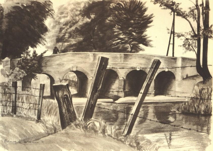 Associate Product BEDFORDSHIRE. Bridge at Cardington. By Maurice de Sausmarez 1946 old print