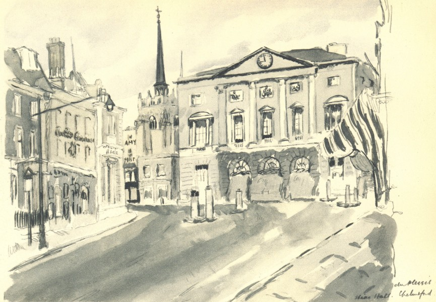 CHELMSFORD. Shire Hall. Essex. By HE Du Plessis 1947 old vintage print picture