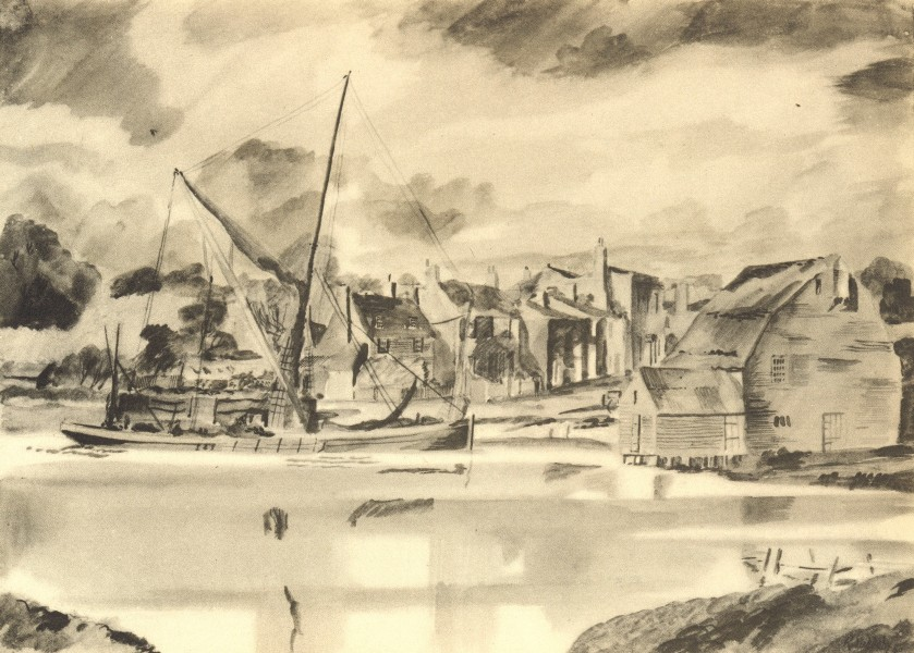 Associate Product ST. OSYTH. Quay. Essex. By Rowland Suddaby 1947 old vintage print picture