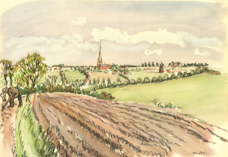 Associate Product ESSEX. Thaxted from the Fields. By HE Du Plessis 1947 old vintage print