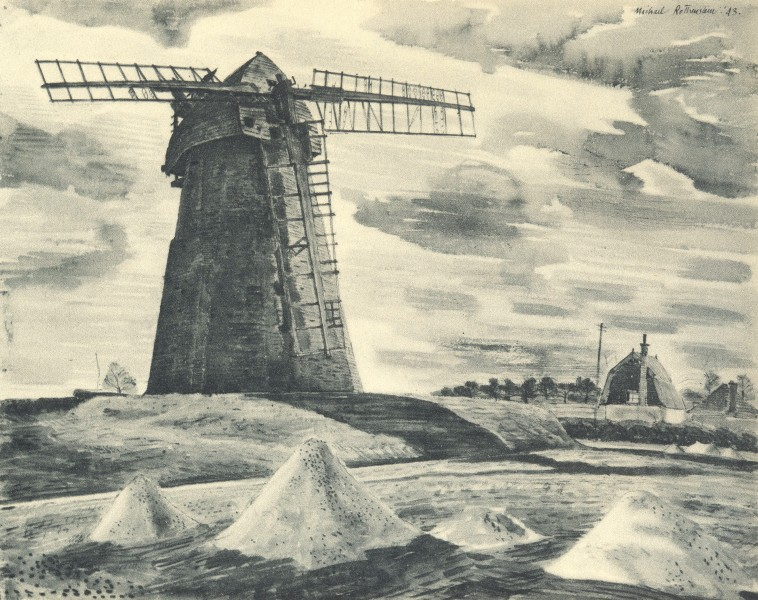 Associate Product GREAT BARDFIELD. Gibraltar Mill. Essex. By Michael Rothenstein 1947 old print