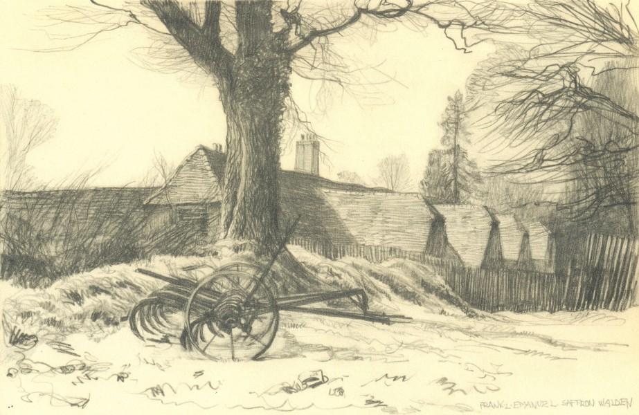 Associate Product ESSEX. Barns near Saffron Walden. By Frank Emanuel 1947 old vintage print