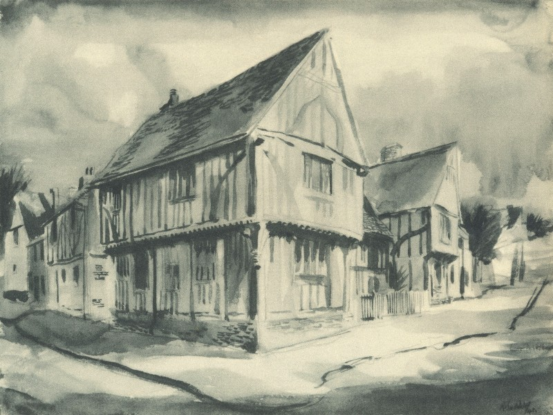 Associate Product LAVENHAM. Wool Hall. Suffolk. By Rowland Suddaby 1947 old vintage print
