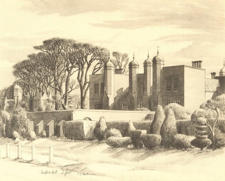 LONG MELFORD. Melford Hall. Suffolk. By SR Badmin 1947 old vintage print