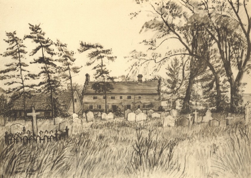 Associate Product SUDBOURNE. Church Farm. Suffolk. By Louisa Puller 1947 old vintage print