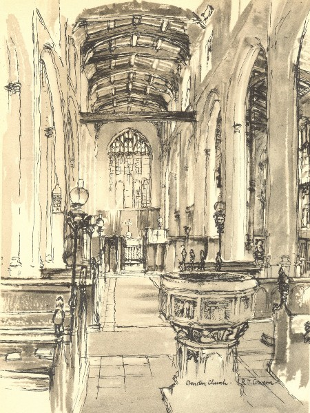 Associate Product DENSTON. St. Nicholas's. Suffolk. By Raymond T Cowern 1947 old vintage print