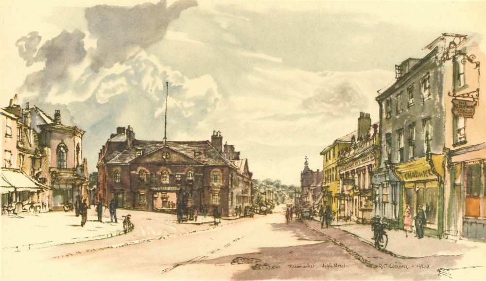 Associate Product NEWMARKET. High Street. Suffolk. By Raymond T Cowern 1947 old vintage print