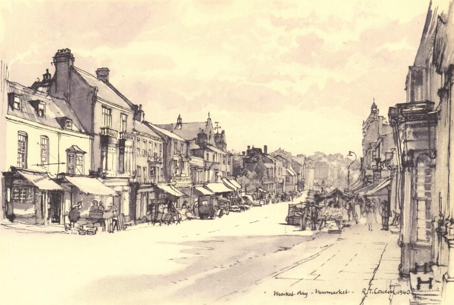 Associate Product NEWMARKET. High Street, on a Tuesday. Suffolk. By Raymond T Cowern 1947 print