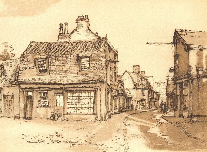 Associate Product NEWMARKET. Market Street. Suffolk. By Raymond T Cowern 1947 old vintage print