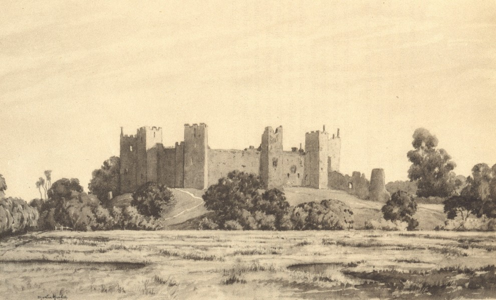 Associate Product SUFFOLK. Framlingham Castlefrom the North. By Martin Hardie 1947 old print