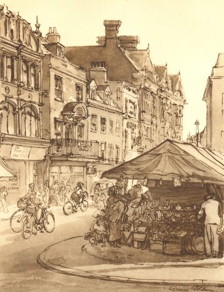 Associate Product CAMBRIDGE. Market Hill. Cambridgeshire. By Grace Golden 1947 vintage print