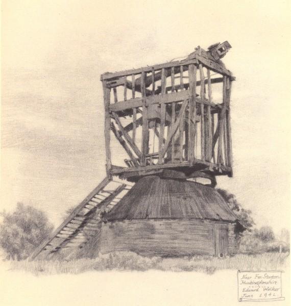 Associate Product FEN STANTON. Post Mill. Cambridgeshire. By Edward Walker 1947 old print