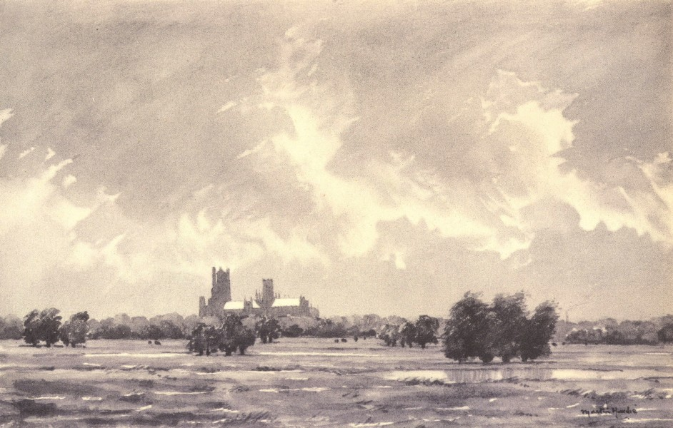Associate Product CAMBRIDGESHIRE. Ely from the South-East. By Martin Hardie 1947 old print
