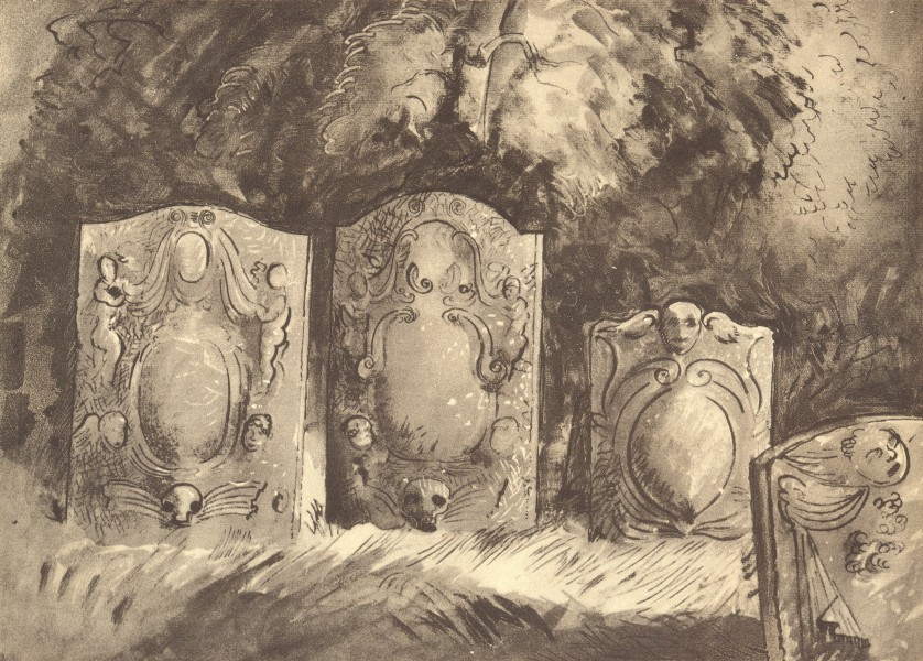 Associate Product HINTON-IN-THE-HEDGES. Tombstones. Northamptonshire. By John Piper 1947 print
