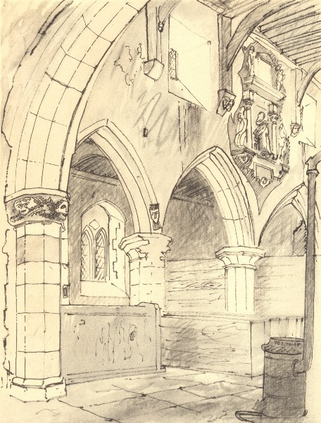 Associate Product FAXTON. St. Denis's - Interior. Northamptonshire. By John Piper 1947 old print