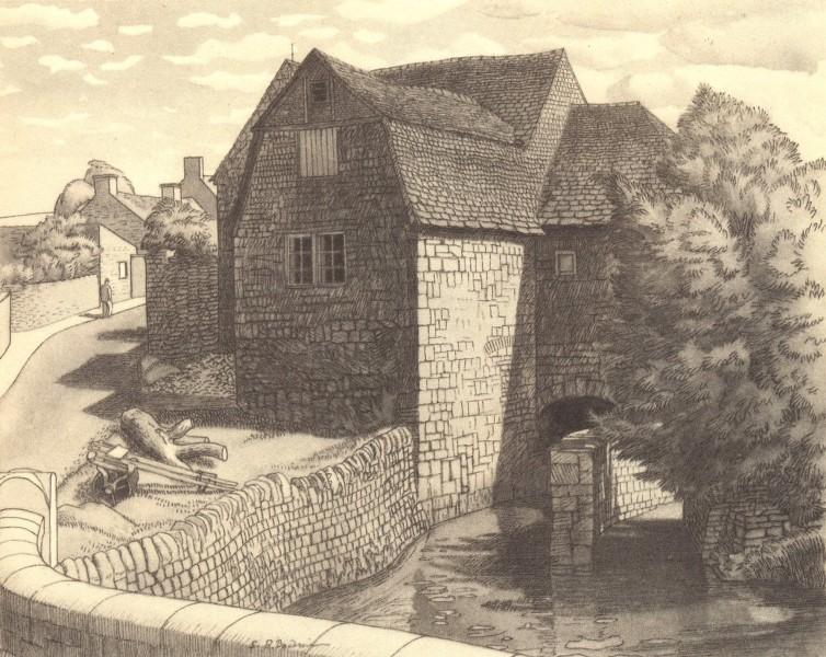 Associate Product DUDDINGTON. The Mill. Northamptonshire. By SR Badmin 1947 old vintage print