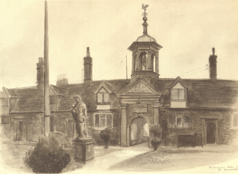 Associate Product GREAT YARMOUTH. Fishermen's Almshouse. Norfolk. By Mona Moore 1947 old print