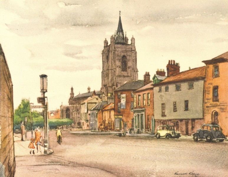 Associate Product NORWICH. St. Peter Mancroft, from Bethel Street. Norfolk. By Russell Reeve 1947