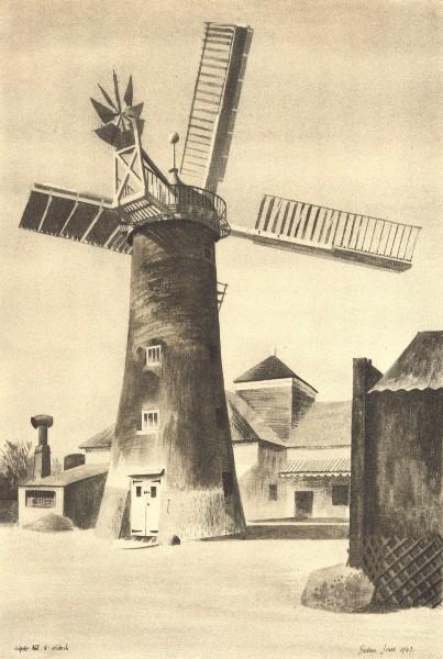 Associate Product WALPOLE HIGHWAY. Mill. Norfolk. By Barbara Jones 1947 old vintage print