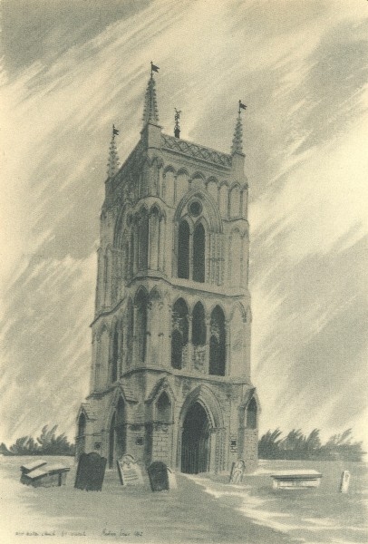 Associate Product WEST WAHON. St. Mary's - The Bell Tower. Norfolk. By Barbara Jones 1947 print