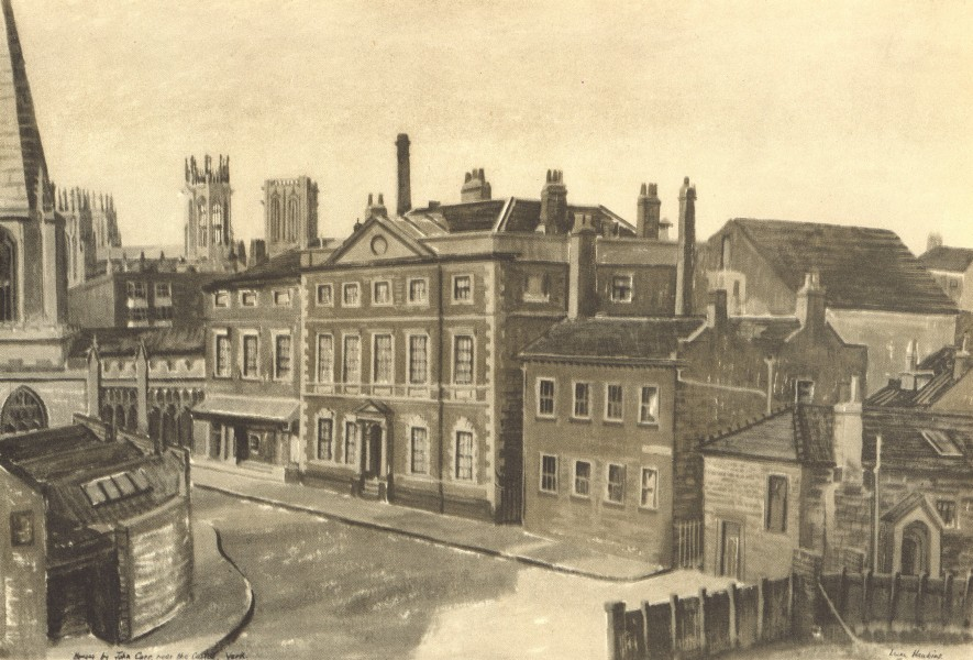 Associate Product YORK. House in Castlegate. Yorkshire. By Irene Hawkins 1947 old vintage print