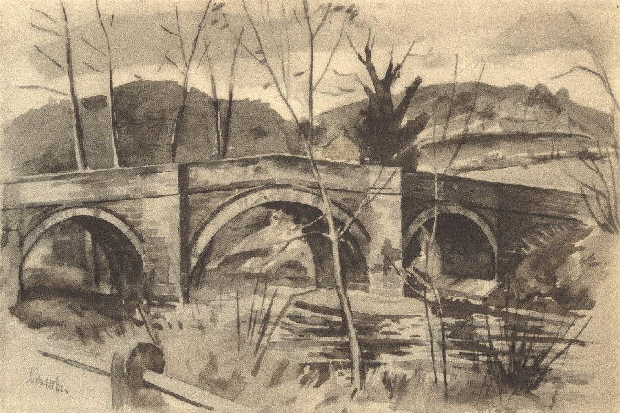 Associate Product YORKSHIRE. Ashberry Bridge. By John Cooper 1947 old vintage print picture