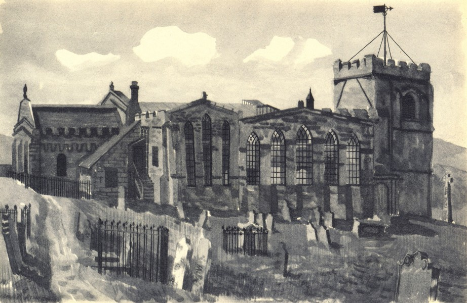 Associate Product WHITBY. St. Mary's - Exterior. Yorkshire. By Kenneth Rowntree 1947 old print