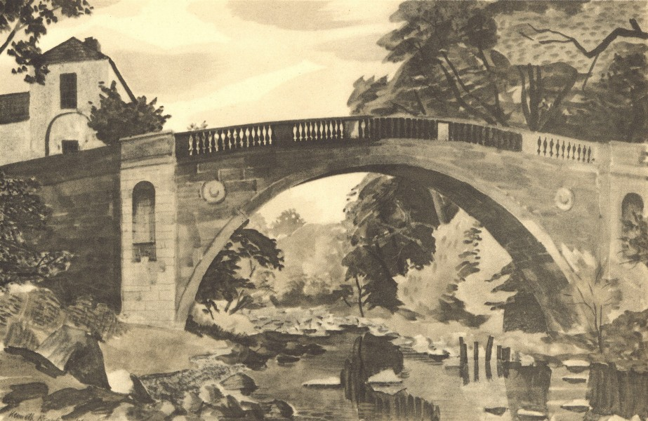 Associate Product YORKSHIRE. Greta Bridge. By Kenneth Rowntree 1947 old vintage print picture