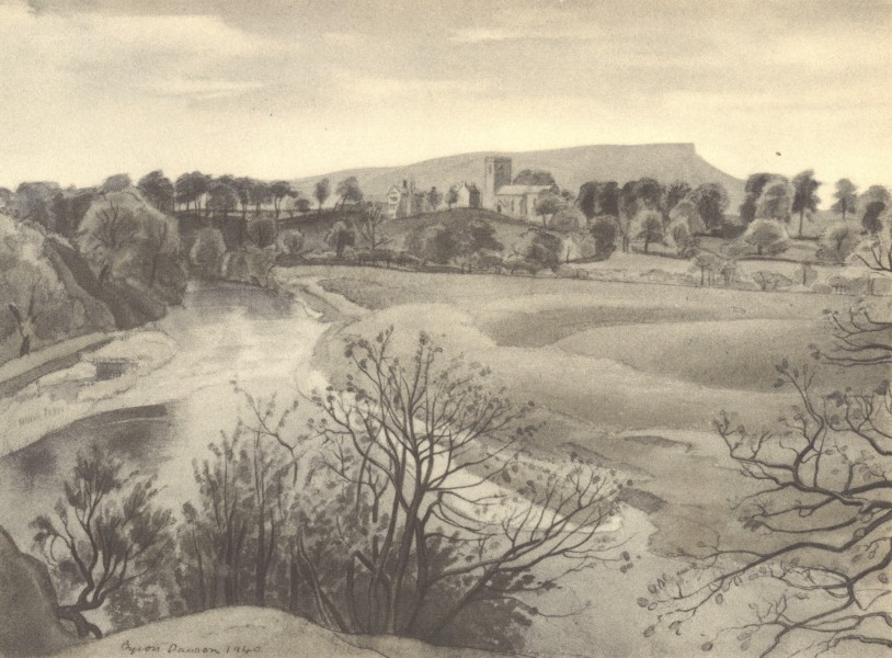 Associate Product LANCASHIRE. The Ribble at Mitton. By Byron Dawson 1948 old vintage print