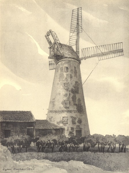 Associate Product CLIFTON. Tower Mill. Gloucestershire. By Byron Dawson 1948 old vintage print