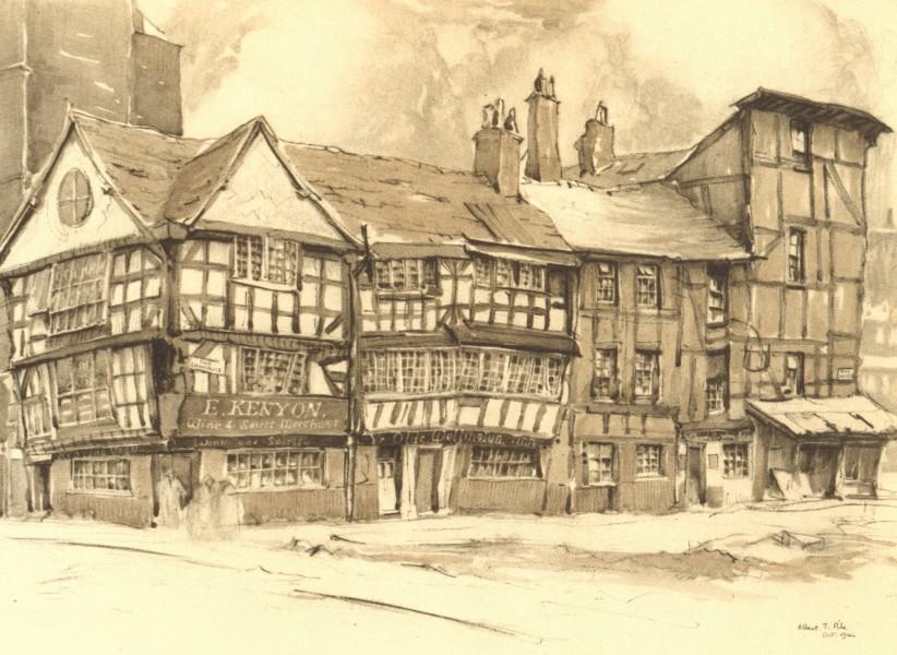 Associate Product MANCHESTER. Old Shambles. Lancashire. By Albert T Pile 1948 vintage print