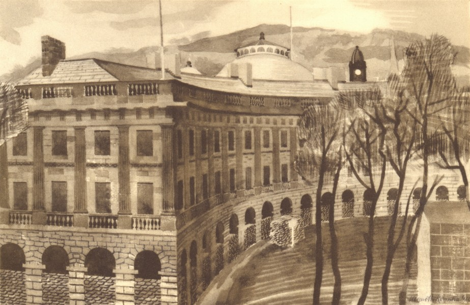 Associate Product BUXTON. The Crescent. Derbyshire. By Kenneth Rowntree 1948 old vintage print