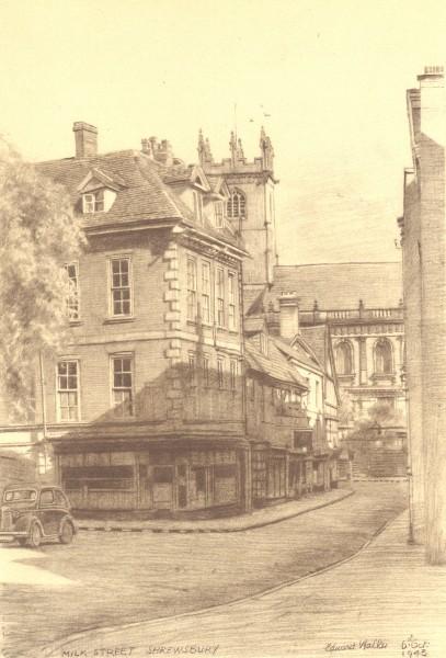 Associate Product SHREWSBURY. Milk Street. Shropshire. By Edward Walker 1948 old vintage print